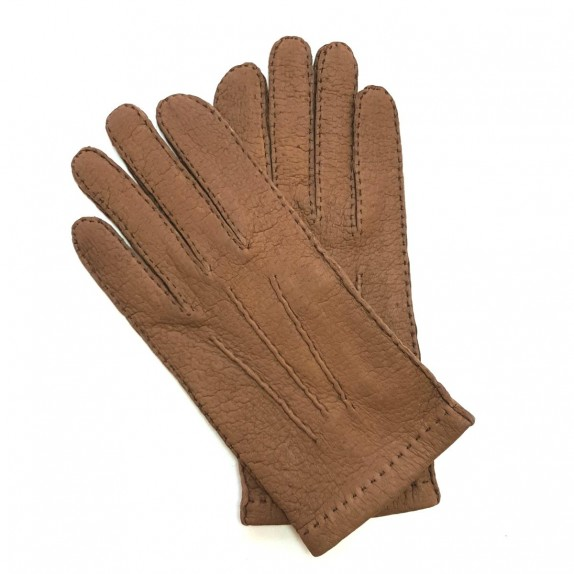 """Leather gloves of peccary glace chesnut """"JOSEPH""""."""
