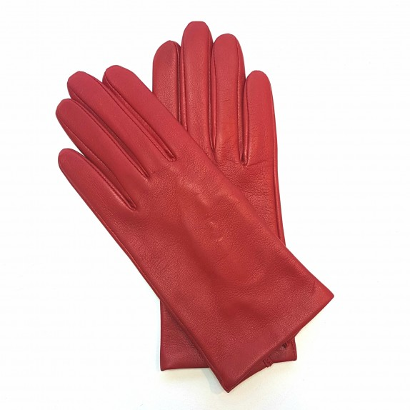 "Leather gloves of lamb red ""CAPUCINE""."