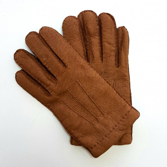 "Leather gloves of peccary chocolate ""PAUL""."
