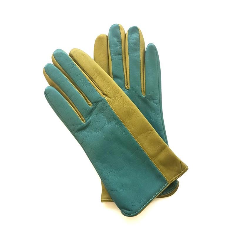 gants en cuir d 39 agneau vert luciole biface doubl s soie. Black Bedroom Furniture Sets. Home Design Ideas