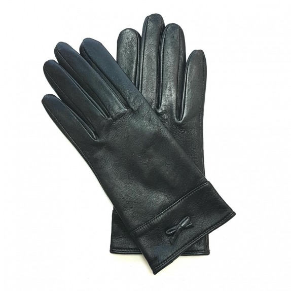 "Leather gloves of lamb black ""ANEMONE"""