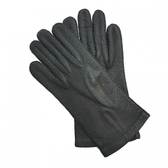 "Leather gloves of peccary black ""MICHEL""."