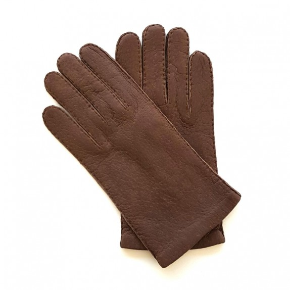 """Leather gloves of peccary dark brown""""MICHEL""""."""