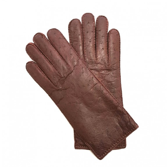 "Leather gloves of peccary and ostrich maroon ""ADELE"""