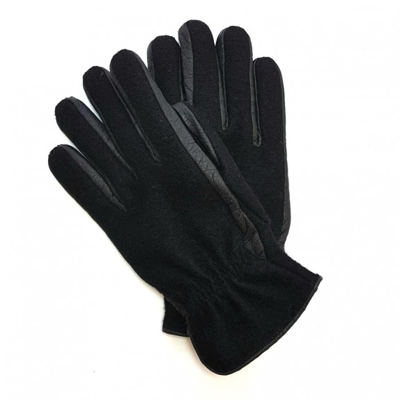 "Leather gloves of peccary and alpaca black ""FERGUS""."