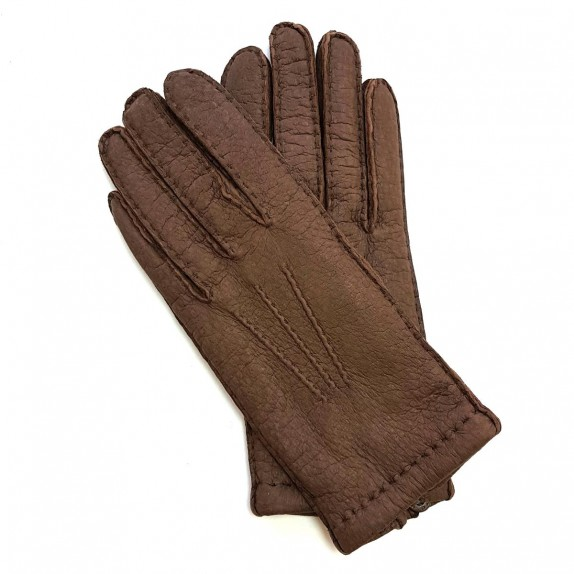 "Leather Gloves of lamb dark brown ""HUGUETTE""."