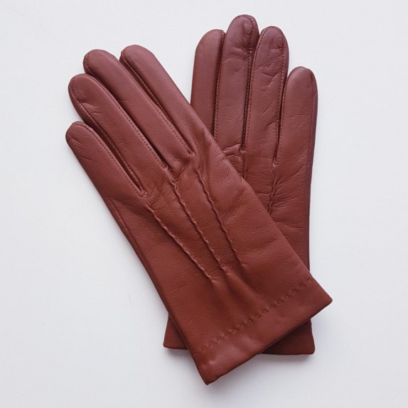 "Leather gloves of lamb cognac ""HENRI""."