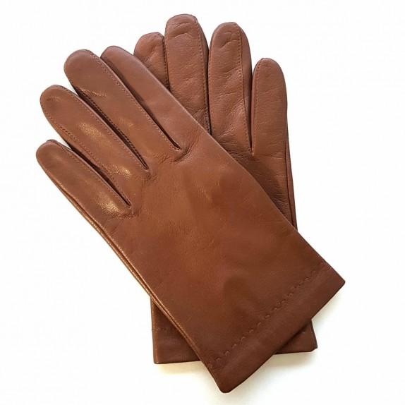 "Leather gloves of lamb cognac ""RAPHAËL""."