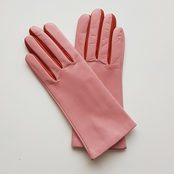 "Leather gloves of lamb pink orange ""COLOMBE""."
