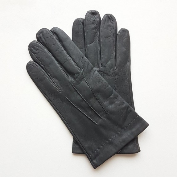 "Leather gloves of lamb grey ""HENRI""."