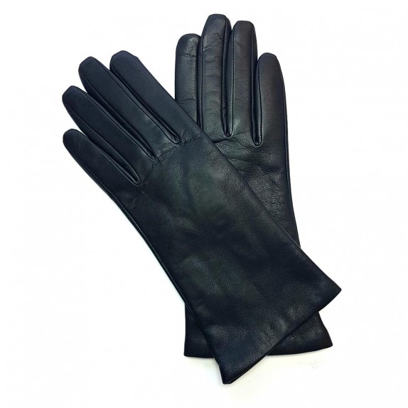 "Leather gloves of lamb black ""ADELINE""."