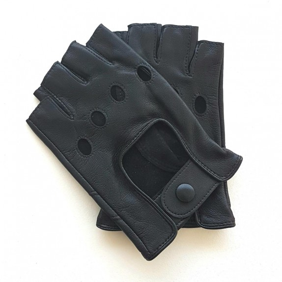 "Leather mittens of lamb black ""PILOTE""."