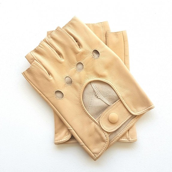 "Leather mittens of lamb beige ""PILOTE""."