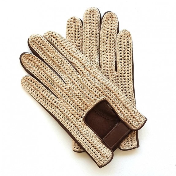 "Leather gloves of lamb and cotton hook brown and beige ""LOUIS"""