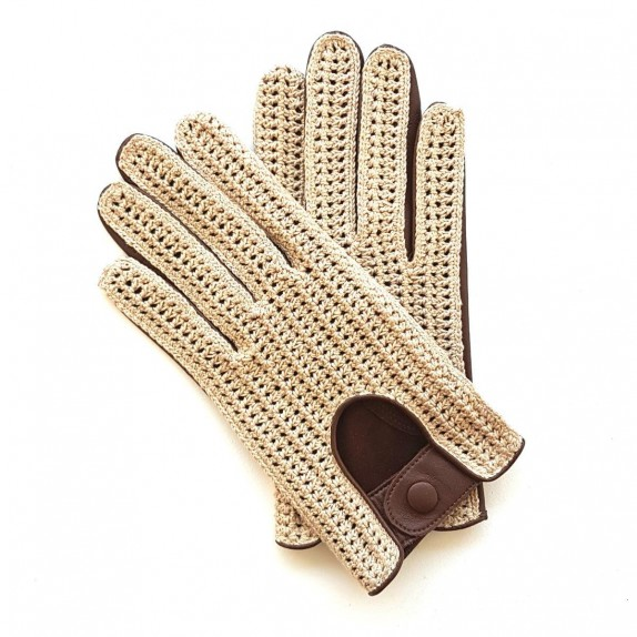 "Leather gloves of lamb and cotton hook brown and beige ""AUGUSTIN"""