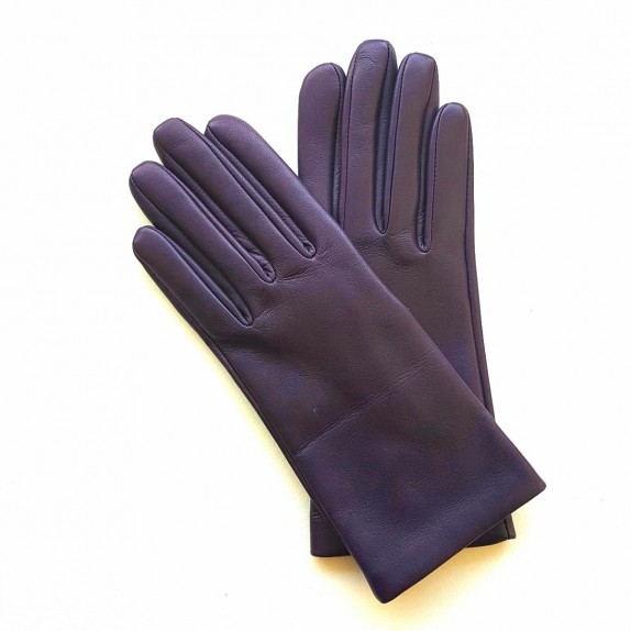 "Leather gloves of lamb plum ""CAPUCINE"""