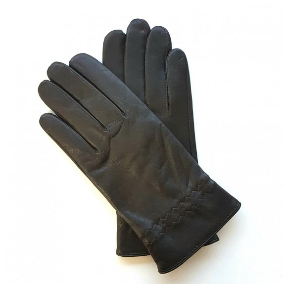 "Leather gloves of lamb brown ""MILO""."
