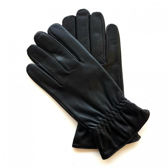 "Leather gloves of lamb black ""MILO""."