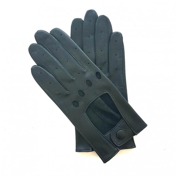 "Leather gloves of lamb black ""AUDREY""."