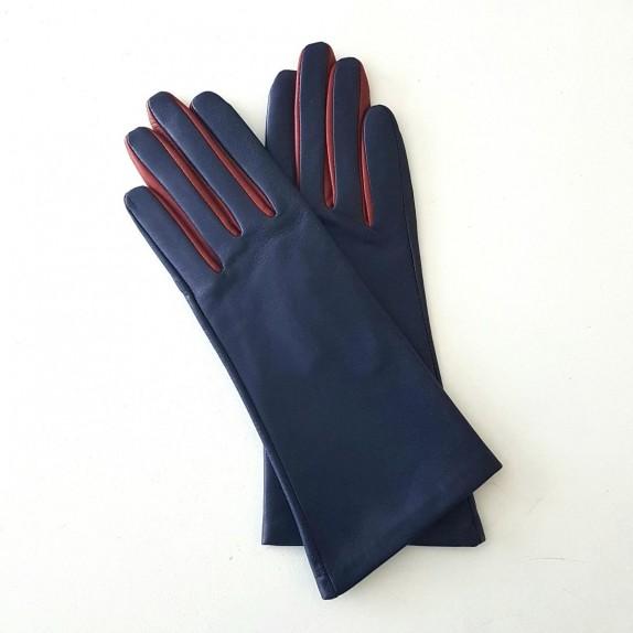 """Gants en cuir d'agneau blue berry rouge hermès """"ELISA""""."""