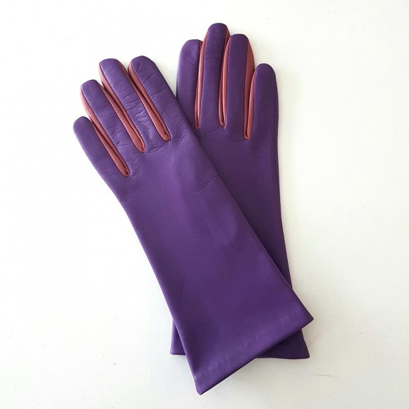 "Leather gloves of lamb amethyst rose antique ""ELISA"".."
