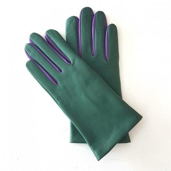 "Leather gloves of lamb verde amethyst ""COLOMBE""."