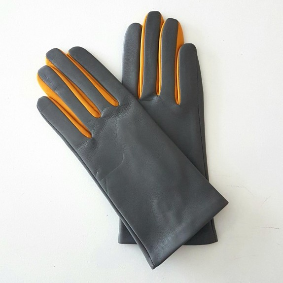 "Leather gloves of lamb charcoal yellow ""COLOMBE""."