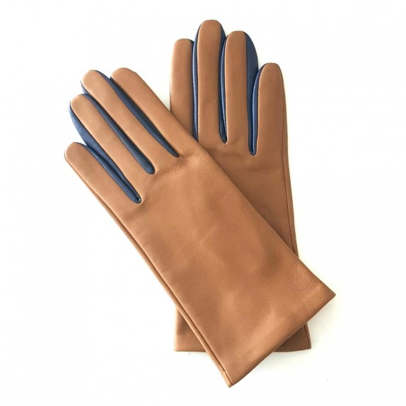 "Leather gloves of lamb biscuit blue berry ""COLOMBE""."