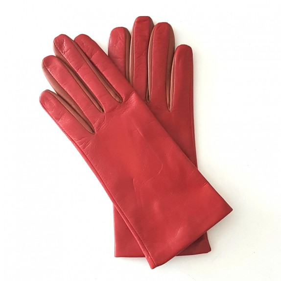 """Leather gloves of lamb pj red cognac """"COLOMBE""""."""