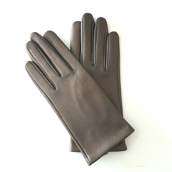 "Leather gloves of lamb bronze ""CAPUCINE""."
