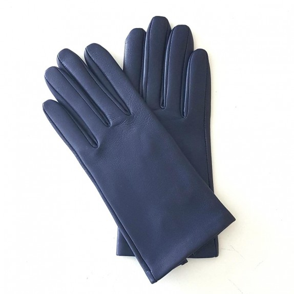 "Leather gloves of lamb blue berry ""CAPUCINE"""