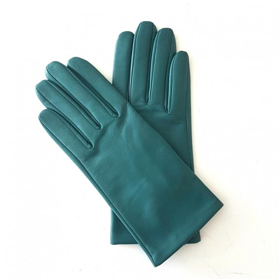"Leather gloves of lamb petrol ""CAPUCINE"""