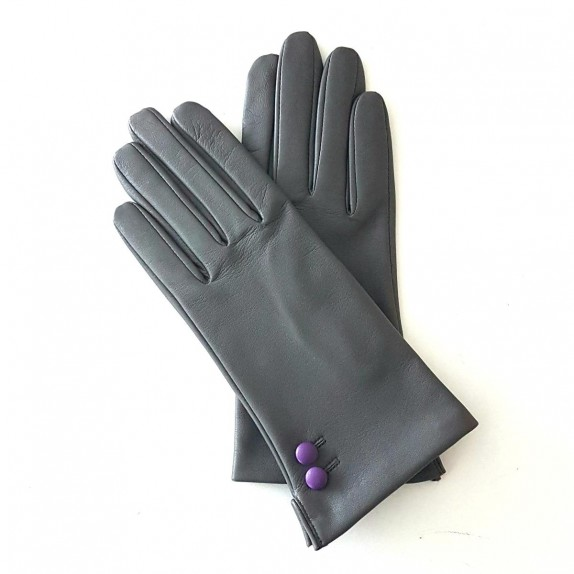 "Leather gloves of lamb charcoal amethyst ""CLEMENTINE"""