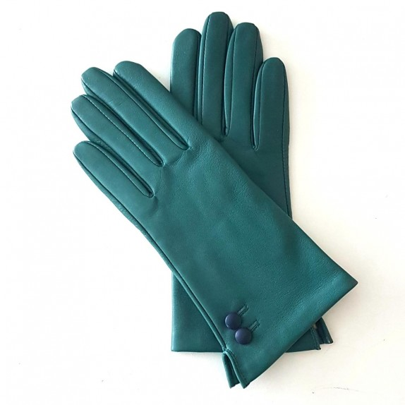 "Leather gloves of lamb petrol damson ""CLEMENTINE"""
