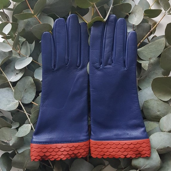 """Leather gloves of lamb blue berry chilly """" ONDA """"."""