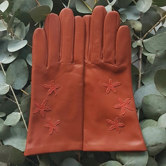 "Leather gloves of lamb cognac chilly "" ESTRELA ""."