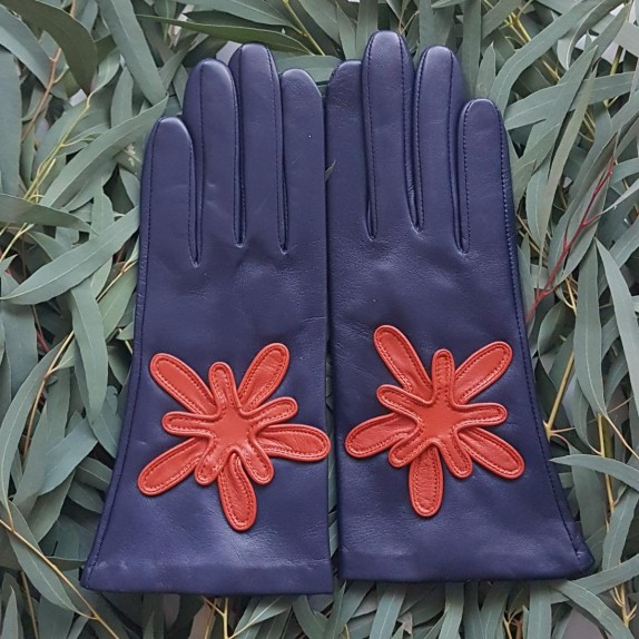 """Leather gloves of lamb blue berry chilly """" STELO """"."""