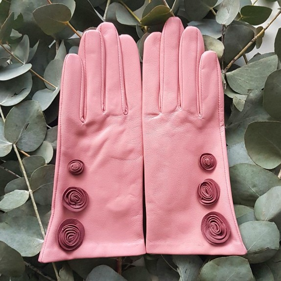 "Leather Gloves of lamb blossom rose antique ""LILA""."