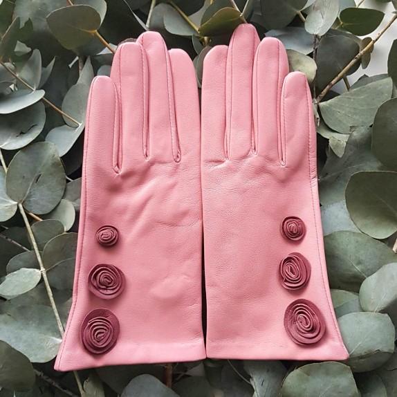 """Gants en cuir d'agneau blossom rose antique """"LILA""""."""