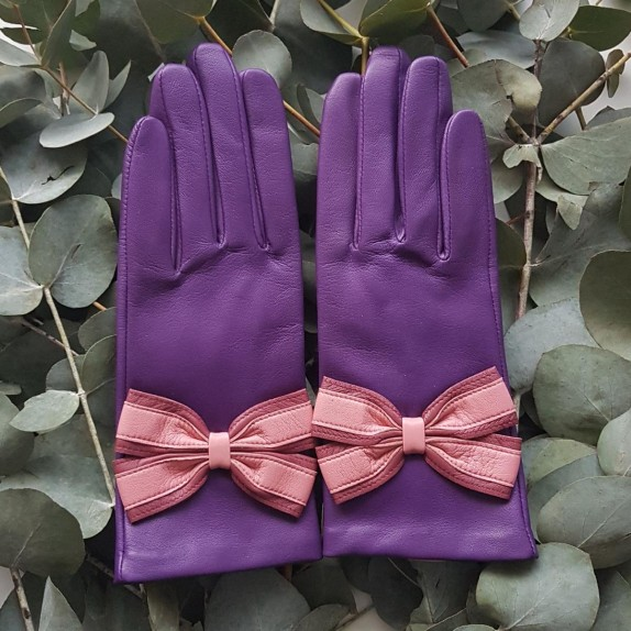 "Leather Gloves of lamb améthyst rose antique blossom ""SOFIA."