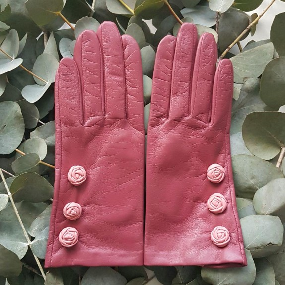 """Leather Gloves of lamb améthyst rose antique blossom """"MILA."""