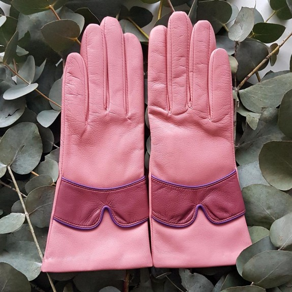 """Leather Gloves of lamb blossom rose antique améthyst """"LEA""""."""