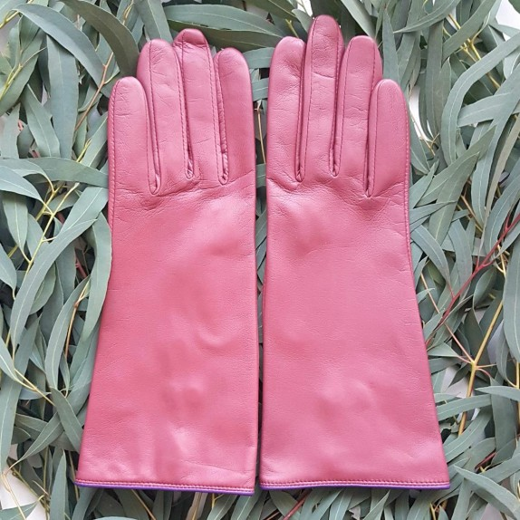 "Leather gloves of lamb rose antique amethyst ""JACINTHE"""