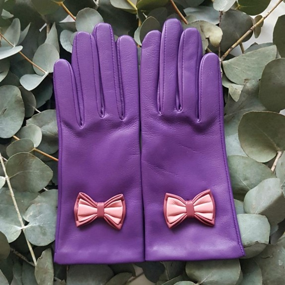 """Leather Gloves of lamb améthyst rose antique blossom """"ANNA""""."""