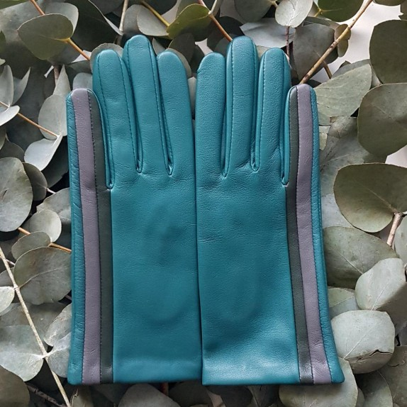 "Leather gloves of lamb petrol evergreen charcoal ""AKANE""."