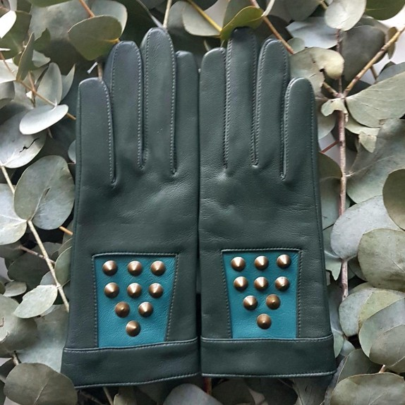 "Leather gloves of lamb evergreen petrol ""BERTILLE""."