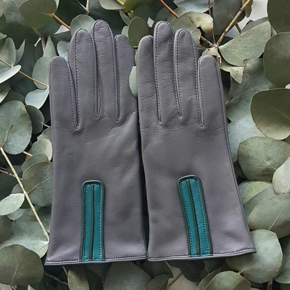 "Leather gloves of lamb charcoal petrol evergreen ""JOSEPHINE""."
