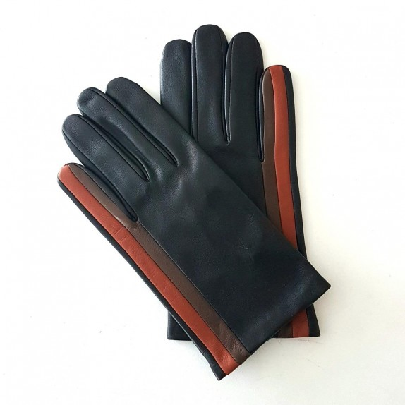 "Leather gloves of lamb black cognac tobacco ""AKANO""."