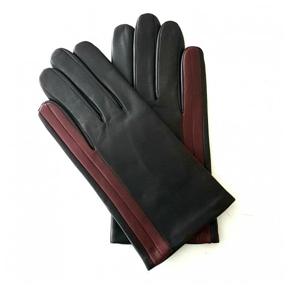 "Leather gloves of lamb brown red ""AKANO""."
