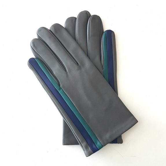 "Leather gloves of lamb charcoal blue berry petrol ""AKANO""."